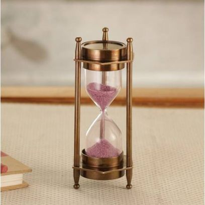 Six Corner Pink Sand Timer with Both Side Compass