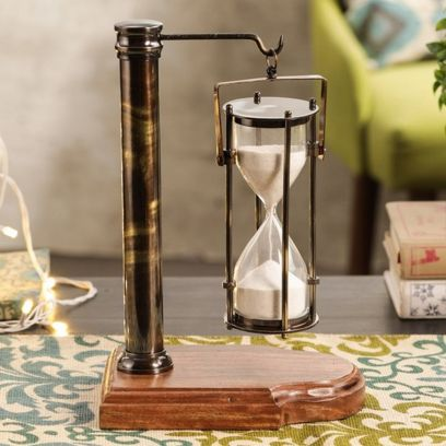 Antique Hanging Sand Timer with Wooden Stand