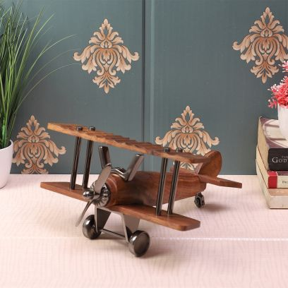 Black Nickle and Wood Vintage Handcrafted Decor Airplane