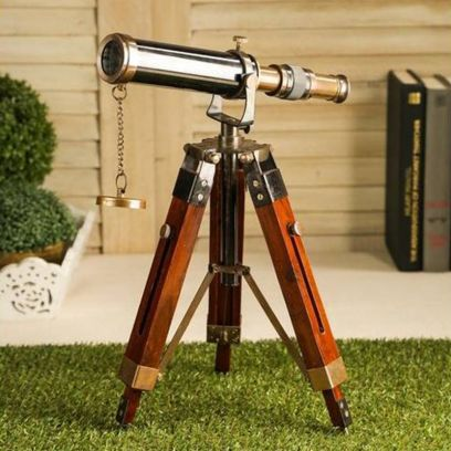 Brass and Wood Antique Telescope With Tripod Stand