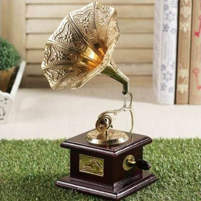 Brass and Wood Embossed Horn Gramophone