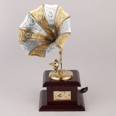 Brass and Wood Embossed Silver and Golden Horn Gramophone