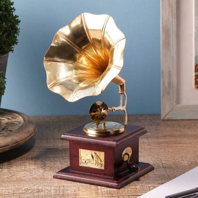 Brass and Wood Gold Gramophone