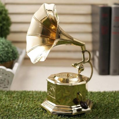 Brass Eight Sided Gramophone