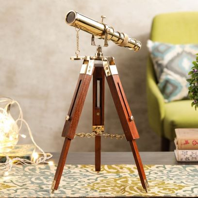 Brass Telescope with Wooden Tripod Stand