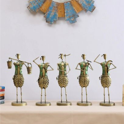 Copper Iron Musician Figurines - Set of 5
