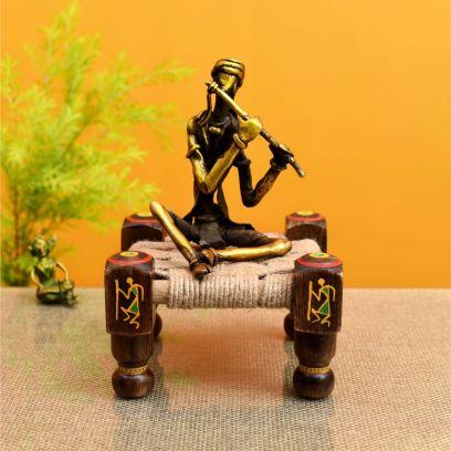 Flutist Antique Brass Sclupture Sitting On Jute Charpai Handcrafted In Lost Wax