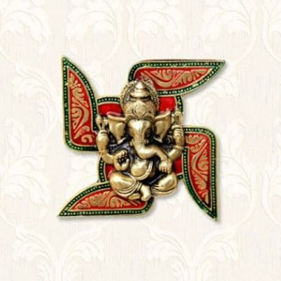 Ganesha Placed on Swastik Wall Hanging - Handicrafts Paradise