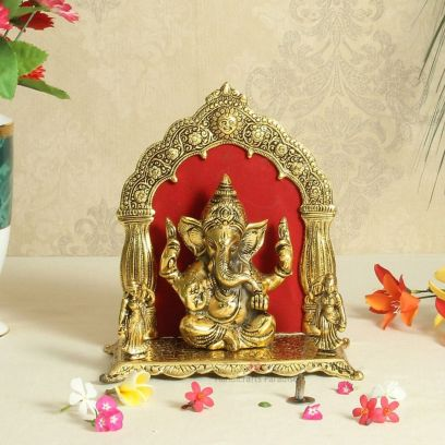 Ganesha Seated with Arch Around it in Antique Golden Finish Metal - Handicrafts Paradise