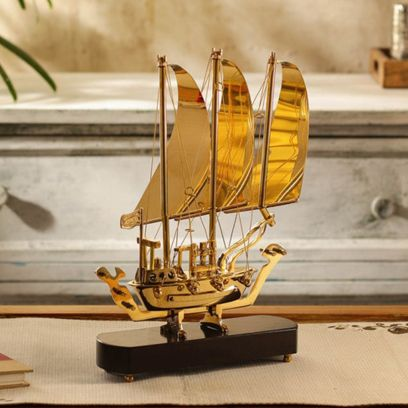 Gold Brown Brass and Wood Sailing Ship