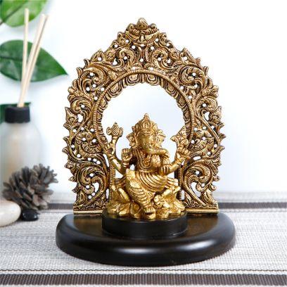 Golden Colour Brass Finish Ganpati Idol On Royal Throne Decorative Statue