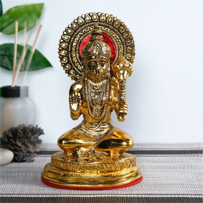 Gold Toned And Red Hanuman Idol Statue