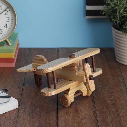 Hand Crafted Pine Wood Decorative Biplane