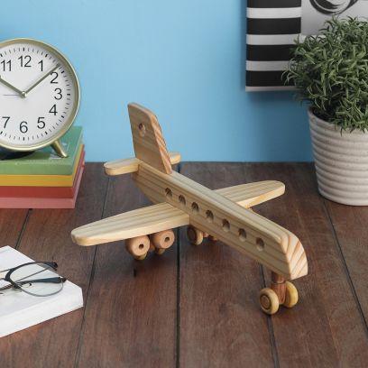 Hand-Made Pine Wood Decorative Airbus