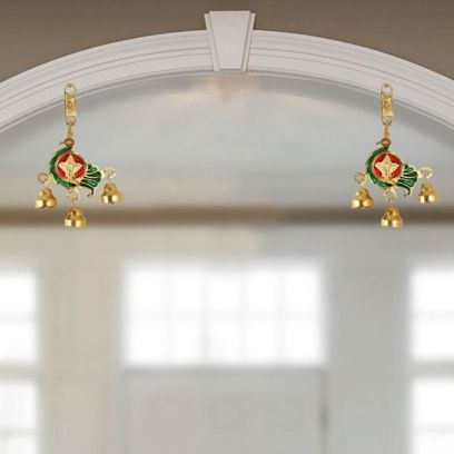 Hanging Pair Metal in Peacock Shape with Bells - Handicrafts Paradise