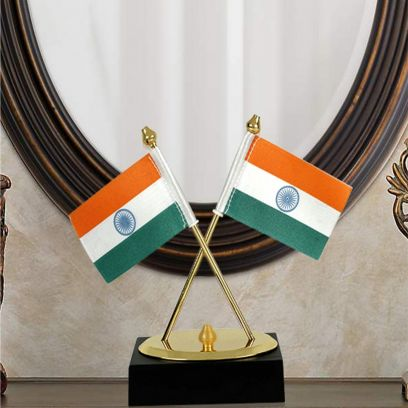 Keeratly 2 in 1 Miniature Metal Country Indian National Flag Wood Base Showpiece