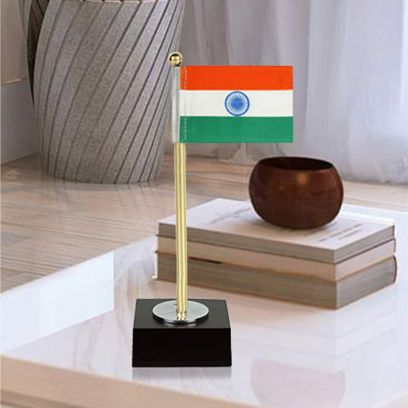 Keeratly Metal Country Indian National Flag Wood Base Table Showpiece