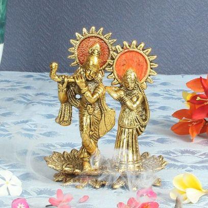 Radha Krishna Playing Flute Standing on Lotus Shaped Base - Handicrafts Paradise