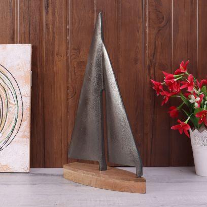 Raw Black Nickle Wood and Aluminum Decor Sailing Boat Miniature