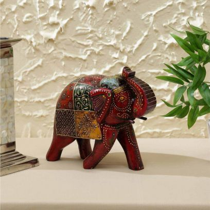 Red and Yellow Wooden 6 inch Elephant