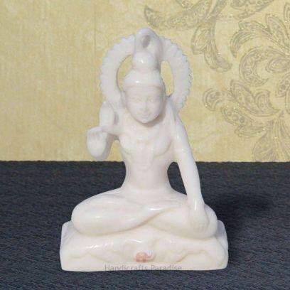 White Sitting Shiva in Resin Showpiece - Handicrafts Paradise