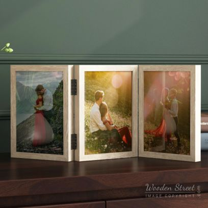 wooden wall art triple photo frame online india