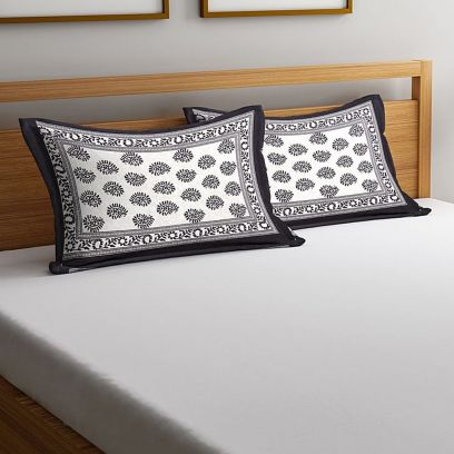 White and Black Screen Print Pillow Covers - Set of 2