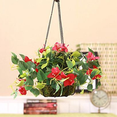 Artificial Bougainvillea Plant with Hanging Ironware Basket (Dark Pink)