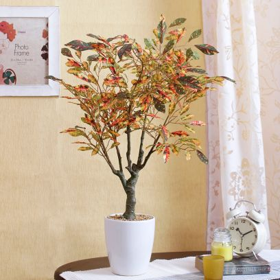 Artificial Croton Bonsai Plant in a Ceramic Vase