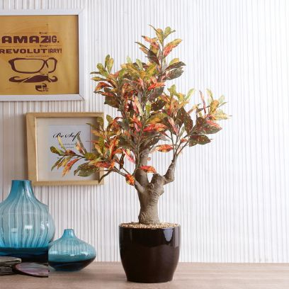 Artificial Croton Plant in a Ceramic Vase (Green and Red)