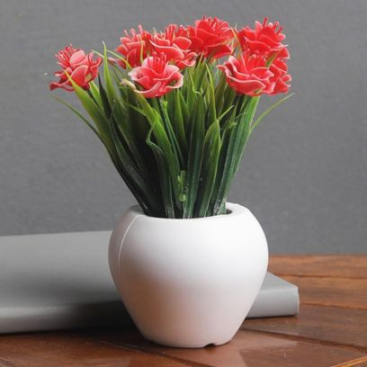 Artificial Mini Plant with Thin Long Leaves with Red Roses