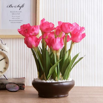 Artificial Tulip Flower in a Ceramic Vase (Dark Pink)