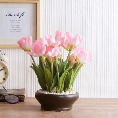 Artificial Tulip Flower in a Ceramic Vase (Light Pink)