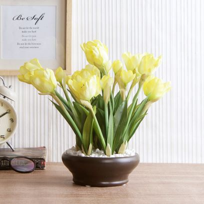 Artificial Tulip Flower in a Ceramic Vase (Yellow)