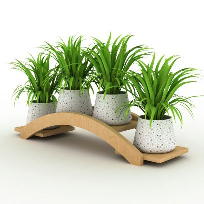Wooden Planters - Beige Four Pot Bridge Large Planter Stand