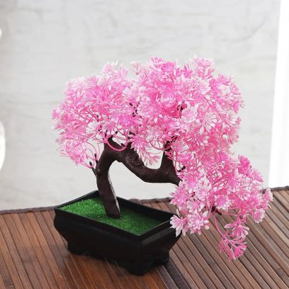 Bent Bonsai Tree With Pink and White Flowers in Rectangular Pot