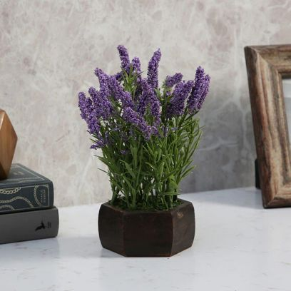 Blue Artificial Hogla Leaves Flowering Plant with Wood Hexagon Pot