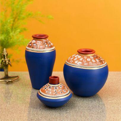 Blue Colour Exotic Warli Vases - Set of 3