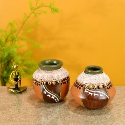 Brown Jute Emblished Handpainted Warli Earthen Vase - Set of 2