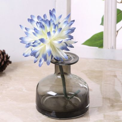 Cylindrical Neck Grey Coloured Glass Vase