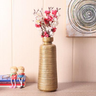 Artificial Planters Online India - Shop Gold Antique Aluminum Table Vase Online In India