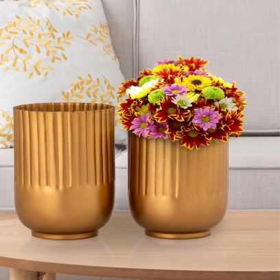 Gold Toned Metal Planters - Set of 2