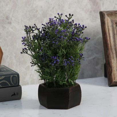 Green and Purple Artificial Berry Leaves Flowering Plant with Wood Hexagon Pot
