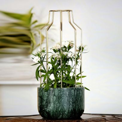 Green Marble with Gold Metal Mesh Planter