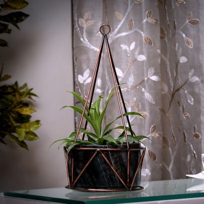 Grey Marble with Copper Antique Metal Filigree Planter