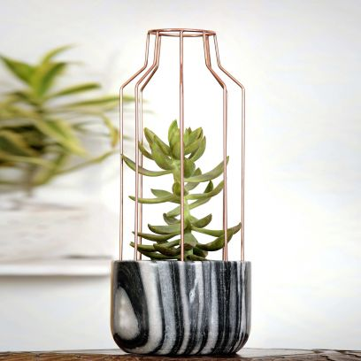 Grey Marble with Copper Metal Mesh Planter