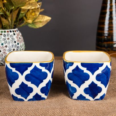 Hand Painted Decorative Ceramic Planters - Set of 2