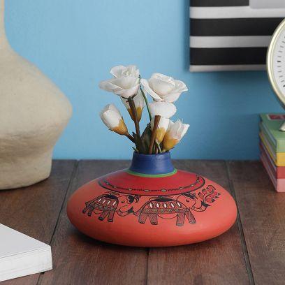 Hand Painted Madhubani Coral Terracotta Flat Vase (7 inch)