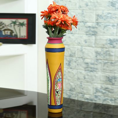 Handcrafted Terracotta Vase with Worli Painting