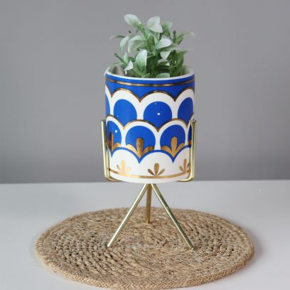 Jason Blue Planter with Stand